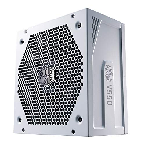 Cooler Master V550 Gold - V2 Bloc d'alimentation, prise EU - 550W, 80 Plus Gold, Modulaire, alimentation ATX, ventilateur FDB 135mm, mode semi-passif, garantie 10 ans, câbles 16AWG PCI-e - Blanc
