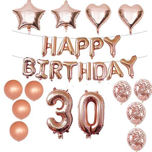 Crazy-m Paket enthalten: 1 Satz Folie Happy Birthday Banner, 8 Stück Latexballons, 4 Stück Stern Goil Ballons, 1 Satz 30 Nummer, 5M Band. Einfach zu bedienen und Alles enthalten
