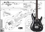 Plan du modèle de Ibanez Satriani Guitare électrique–Full Échelle d'impression