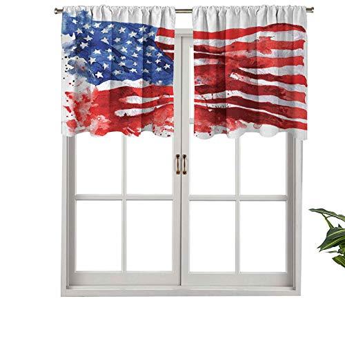 Hiiiman Cortinas cortas, con bolsillo para barra, diseño de bandera de América, con símbolo de independencia nacional abstracto, juego de 2, 137 x 91 cm para baño y cocina