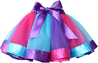Xinvivion 子供服 女の子 カラフル スカート 可愛い 虹色 チュール チュチュ レイヤード プリンセススカート ステージ/写真撮影/バレエダンス