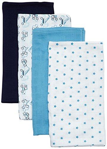 Care Unisex Baby Mullwindeln / Spucktücher im 4er Pack, 70x70 cm, All over print, Gr. One size (Herstellergröße: 70X70), Mehfarbig (Blue 709)