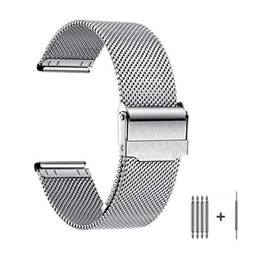 GOLOFEA Correa De Reloj Unisex Cadena De Reloj De Metal De Acero Inoxidable De Acero Inoxidable Cadena De Reloj De Correa De Acero De Repuesto Longitud Ajustable Silver color-15mm