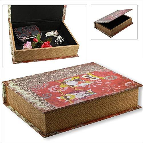 """Box im Buch Look Midi: Diese Aufbewahrungs-Box im """"Buch-Look"""" ist solide aus Holz gefertigt und außen attraktiv im Retrolook mit einem Eulen-Motiv ... ... verborgen. Format Midi ca. 30 x 22 x 6,5 cm"""