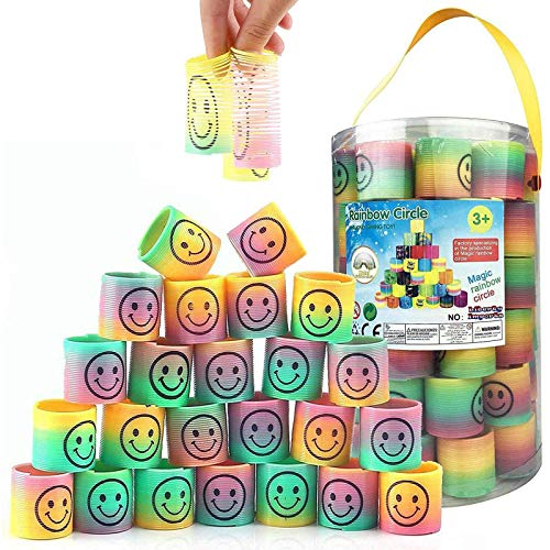 Liberty Imports 72 Pcs Mini Emoji Smile Happy Face Rainbow Springs in Storage Bucket - Bulk Set of Assorted Rainbow Magic Coil Stretch Toys for Birthdays, Prizes, Party Favors, Gifts