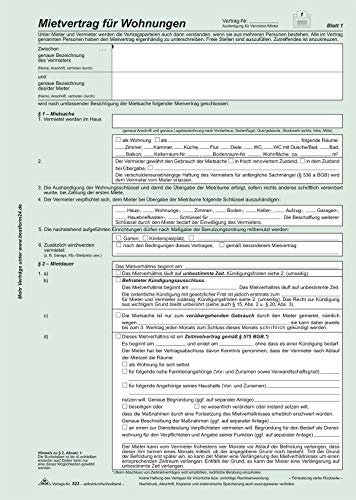 RNK 523/10 - Universal-Mietvertrag für Wohnungen, selbstdurchschreibend, 3x2 Blatt, DIN A4, 10 Verträge