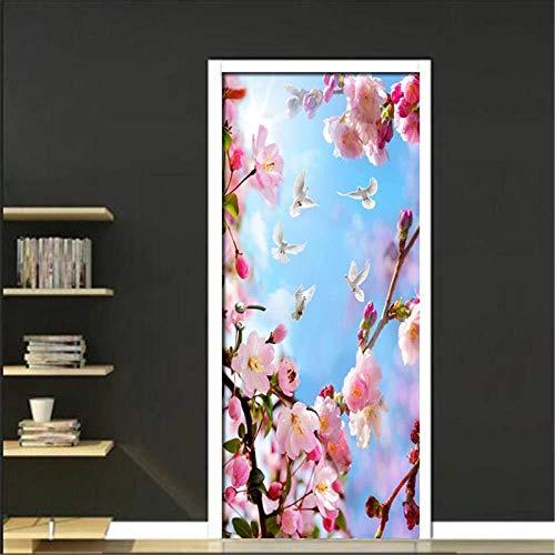 Cjzyy 3D Zelfklevende deur muurschilderingen Schil en Stick Decor Stickers Roze Perzik Boomtak Patroon Woonkamer PVC Waterdichte S Behang Verwijderbare Kunst Poster 95x215cm
