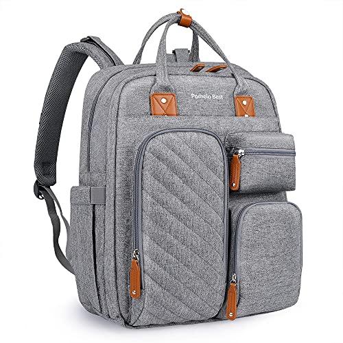 Pomelo Best Wickelrucksack mit abnehmbare Wickelauflage, Isoliertaschen, Kinderwagenbefestigung und gut gepolsterte Gurte und Rücken, Große Wickeltasche für unterwegs