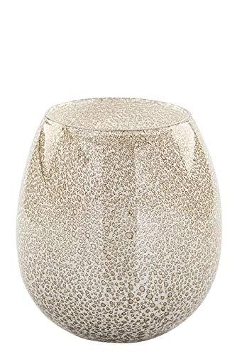Fink Vase/Windlicht Silva - aus Glas weiß-cremefarben mit Bläschen H 17,5 cm