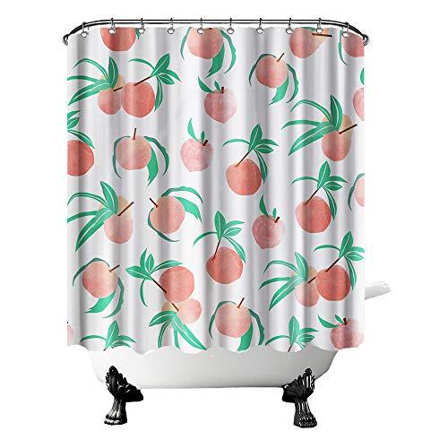 Pfirsichfarbener Duschvorhang mit süßem Obst, farbenfroher Stoffvorhang für Badezimmer-Dekor mit Haken, 183 x 183 cm, grüne Koralle