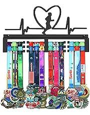 WEBIN Medaillehanger voor hardlopen, display rek, zwart, super hard staal metaal, wandmontage meer dan 50 medailles