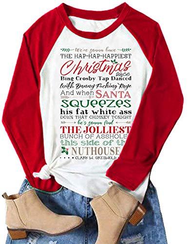 Jolliest Bunch T Shirt Women Christmas Vacation Long Sleeve Raglan Tee Shirts Xmas Funny Letter Print Tshirts Tops (Medium, Red)