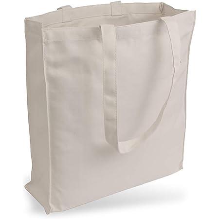 Cottonbagjoe Jutebeutel Canvastasche aus Jeansähnlichem Stoff (sehr robust und widerstandsfähig) unbedruckt mit Seiten-&Bodenfalte und Zwei Langen Henkeln 38x42x10cm (Natur)