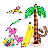Zsroot 10 Piezas de Palmeras inflables Flamingo Toys Inflable Banana Beach Balls tiburón Delfín para Piscina Playa Hawaii Party Decor Luau Party Telón de Fondo