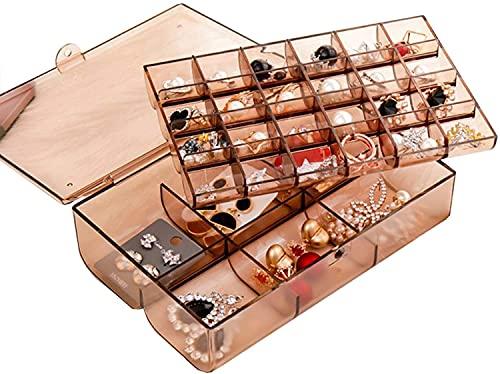 Caja de joyería de Viajes Joyas,Caja de joyería para Mujeres,Caja de Almacenamiento de Joyas de acrílico con Tapa,para Anillos,Pendientes,Collar (Color : Tawny 30 Grid)