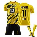 XIJIANCHUI Camiseta de fútbol de 17# Haaland para Hombres 11# Reus Football Jersey, 2020-2021 Uniforme del Equipo de la casa, Traje de 3 Piezas Ropa de Entrenamiento, Regalo yellow11-18