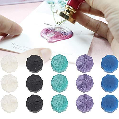 Fudax Perlas de Varillas de Sello de Cera, Perlas de Sello de Cera Azul Profesional Vintage para Adorno de Sobres para Cuchara de Cera para Sello de Cera