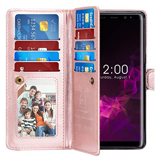 Note 9 Case, Pasonomi Note 9 Wallet Case with Detachable SlimCase - [Folio Style] PU Leather Wallet case with ID&Card Holder Slot Wrist Strap for Samsung Galaxy Note 9 (Black)