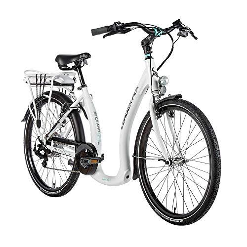 Elektro-Fahrrad City Leader Fox 26 Zoll Holand 2020 Unisex Motor Hinterrad Bafang 36 V Aluminium matt 7 V Shimano Tourney weiß
