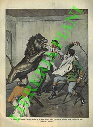 Barbiere ucciso da un leone mentre stava radendo un domatore nella gabbia delle fiere.