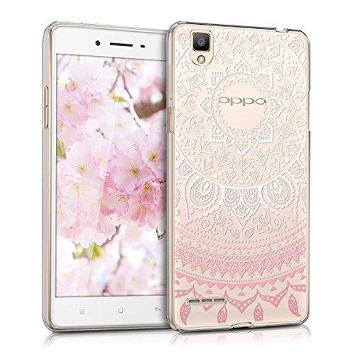 kwmobile Hülle kompatibel mit Oppo F1 - Handyhülle - Handy Hülle Indische Sonne Rosa Weiß Transparent