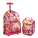 J World New York Kids' Lollipop Rolling Backpack & Lunch Bag Set, Poppy Pansy, One Size