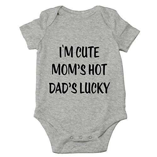 Crazy Bros Tees I'm Cute, Mom's Hot, Dad's Lucky Funny Cute Novelty Infant One-piece Baby Bodysuit (6 Months, Heather Grey)