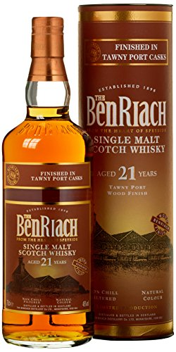 Benriach 21 Years Old Tawny Port Wood Finish Limited Edition Whisky mit Geschenkverpackung (1 x 0.7 l)