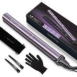 KIPOZI Plancha de Pelo Profesional, Plancha de Pelo Iónico V5 con Placa de Titanio, Plancha y Rizador 2 en 1 con Dual Voltaje y Ajustable Temperatura, Púrpura