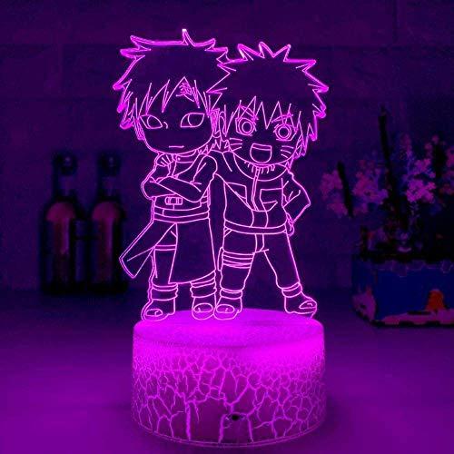 3D-Nachtlicht für Jungen und Mädchen, Illusion, niedliches Anime-Motiv Naruto und Gaara, Kinderfigur, Schlafzimmer-Dekoration, Geburtstagsgeschenk, Nachttischlampe, 7 Farben, Anime-Touch