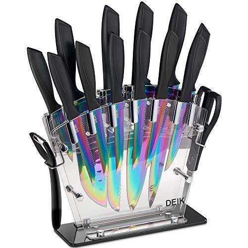 Deik Messerblock Set | 16-TLG Messerset | Profi Kochmesser mit Präzisionsklingen | rostfreier Edelstahl Titanbeschichtung| ergonomische Griffe | inkl. Küchenschere und Wetzstahl Stange | Acrylstand