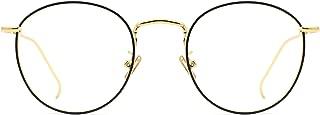 Women Metal Circle Eyeglasses Fashion Full Rim Round Thin Artist Frame-Henk