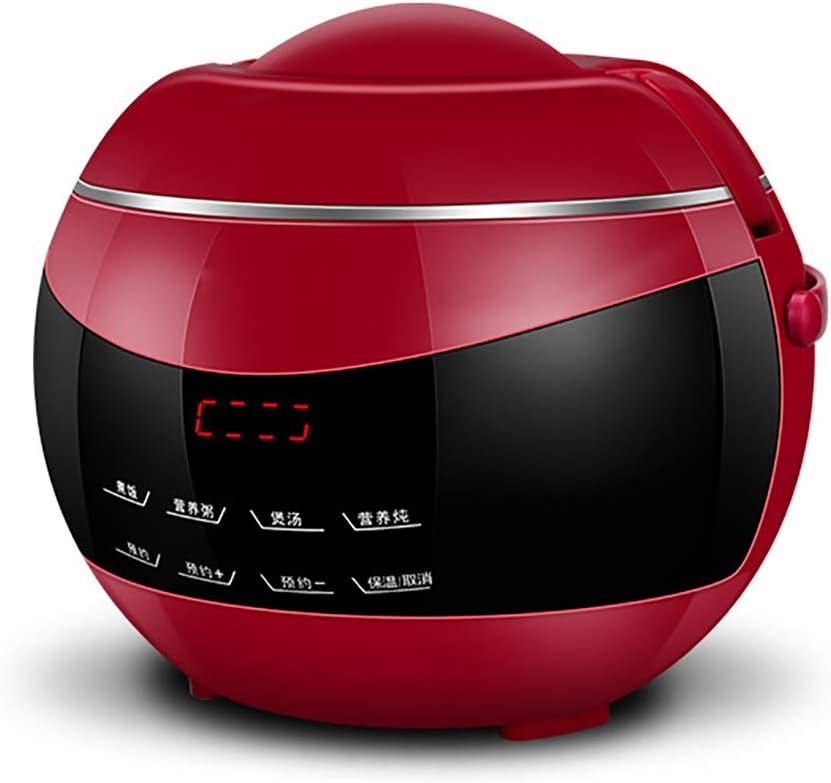 Mini Slimme Kleine Rijstkoker, Multifunctionele Automatische Rijstkoker, Met Deksel En Programmeerbare Countdown-Timer, Geschikt Voor Gezinnen,White Red