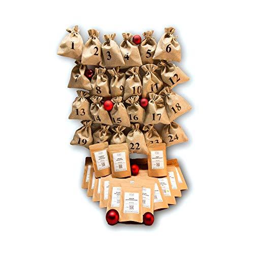 Kaffee Adventskalender - Komplett-Set - Jutesäcke und Kaffee zum Selbstbefüllen - ganze Bohnen - Säcke sind wiederverwendbar