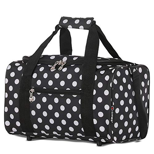 5 Cities Ryanair Sized Small Bag Cabin Luggage, Travel Duffle, 35 cm, 14L, Black Polka