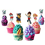Paw Dog Patrol Cupcake Toppers Paw Dog Patrol Cake Toppers 48PCS, Paw Dog Patrol Happy Birthday Party Supplies Pet Cake Decorations for Paw Dog Patrol fans, Kids Birthday Party