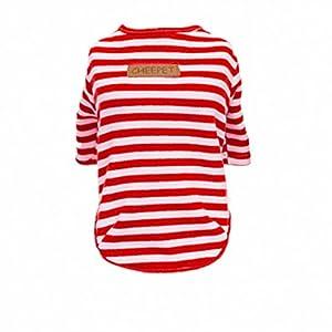 T-shirt Chien Confort Coton Style Classique Rayure Sans Doublure Vêtements D'automne Pour Animaux