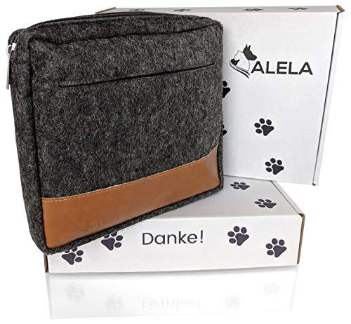 ALELA® Premium Futterbeutel   Futtertasche für Hunde-Training   Leckerlitasche in Filz-Optik   Snack-Bauchtasche