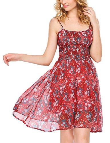 Zeagoo Damen Chiffon Kleid Strandkleid Blumen Druckkleid Bandeaukleid Floral Sommerkleid Spaghetti Trägerkleid, Rot-1, 42 (Herstellergröße : XL)