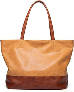 Fanspack Ladies Tote Bag Large Capacity Elegant Dual Color Shoulder Bag Simple Handle Bag