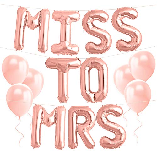 xo, Fetti Bachelorette Party Decorations - Miss to Mrs Balloon Kit - Rose Gold - 16' MISS TO MRS Foil Balloons + 10 Rose Gold Latex Balloons - Bridal Shower