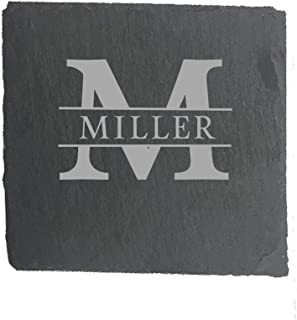 Custom Personalized Slate Drink Square Coasters Set of 4 - Monogrammed and Engraved for Free (style#1)