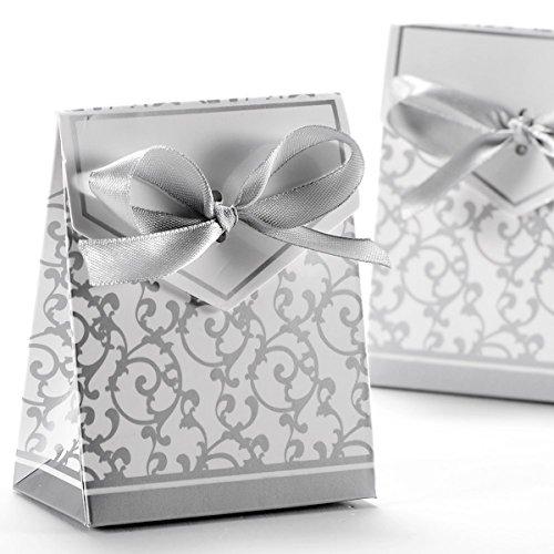 VORCOOL 50stk Geschenkboxen mit Bändern (Silber)