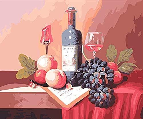 LSDEERE Kits de Pintura por números Pintura de bodegón de Frutas de Vino Tinto Pintura por números para Adultos y niños Kits de Regalo de Pintura al óleo DIY