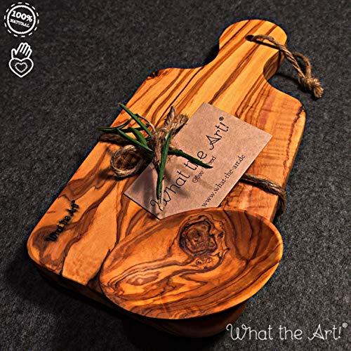 What the Art!® Olive Wood «Le Provençal» Gr. M | Olivenholz Schneidebrett inkl. Dip-Schälchen + Geschenk | ca. 27 x 13 x 2 cm | Käsebrett - Servierbrett - Brotzeitbrett - Vesperbrett