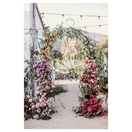 WYCD Heavy Duty Large 2.4M Black Metal Garden Arch, Garden Arbor for Climbing Plants, Wedding Decoration, arbour pergola