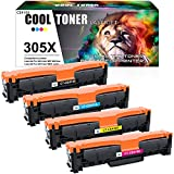 Cool Toner Compatible Toner Cartridge Replacement for HP 305A 305X CE410X CE410A HP Laserjet Pro 400 Color Toner M451dn M451nw M451dw MFP M475dw M475dn Pro 300 M375nw (Black Cyan Magenta Yellow 4Pack)