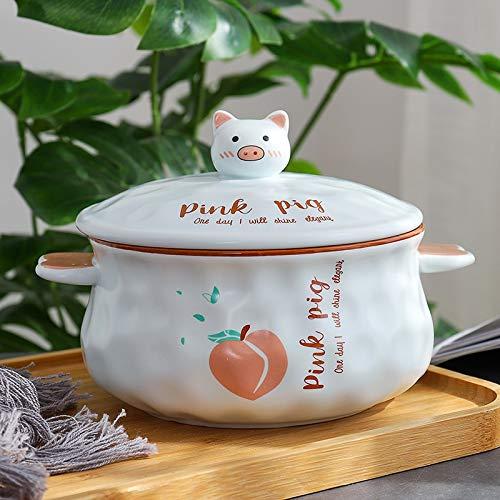 ACDES tazón de cerámica Creativa binaural de Fideos instantáneos Bol con Tapa de los niños Coreanos de Gran Capacidad contra tazón de Sopa Caliente ACDES
