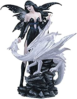 StealStreet SS-G-91461 Black Fairy with White Dragon Collectible Figurine Decoration Statue