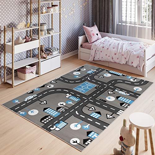 Tapiso Pinky Teppich Kurzflor Kinderteppich Kinderzimmer Grau Blau Schwarz Weiß Pastellfarben Modern Straße Spielteppich ÖKOTEX 80 x 150 cm